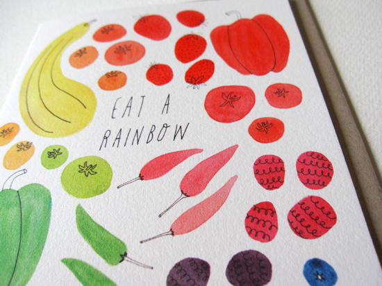 Eat a Rainbow Notecard on 19pt Natural Savoy