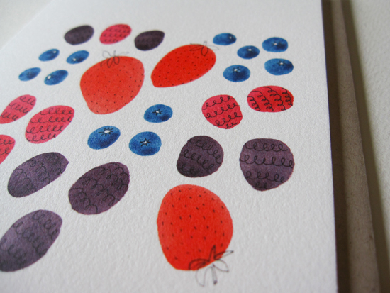 "Summer Berry Notecard on 19pt Natural Savoy, 4.25"" x 5.5 """