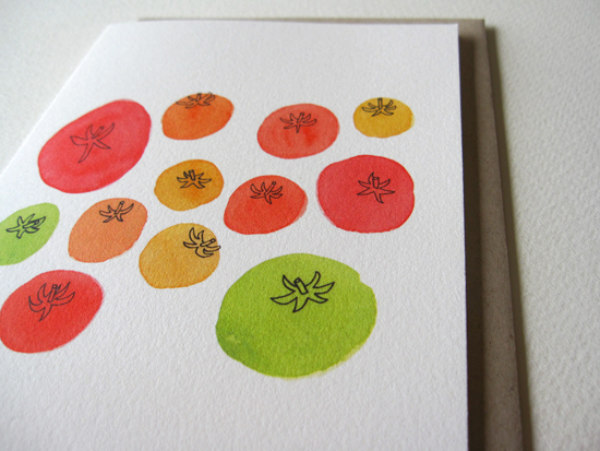 "Tomato Notecard on 19pt Natural Savoy, 4.25"" x 5.5"""