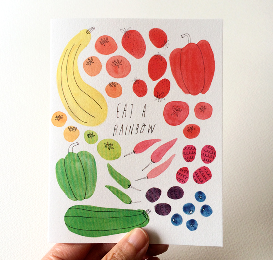 "Eat a Rainbow Notecard by Yuko Miki, 4.25"" x 5.5"" 19pt Natural Savoy"