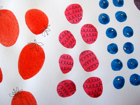Strawberry Raspberry Blueberry Watercolor Illustration
