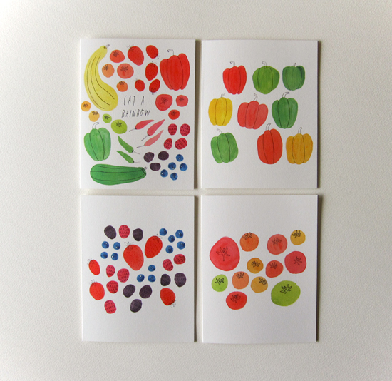 Eat a Rainbow, Bell Pepper, Summer Berry, and Tomato Notecards on 19pt Cotton Savoy