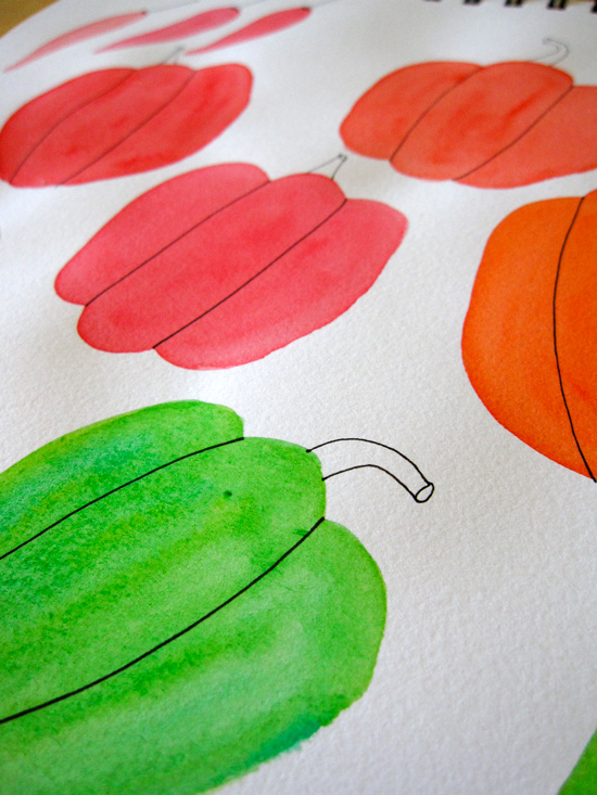 Green, Red, and Orange Bell Pepper Watercolor Illustration
