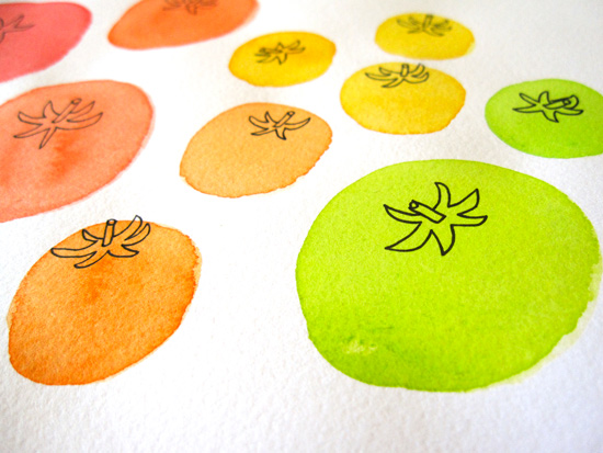 Green, Orange, and Yellow Tomato Watercolor Illustration