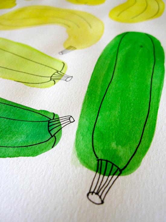 Green Zucchini Watercolor Illustration