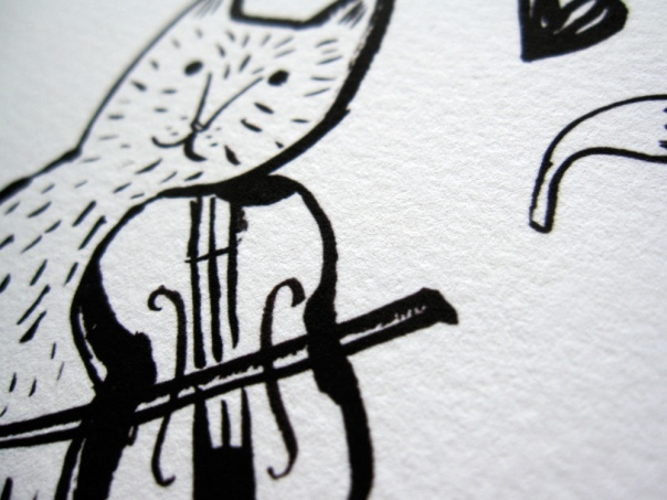 Cat Violinist sumi ink drawing giclee print