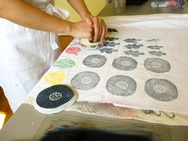 block printing on fabric poppy design