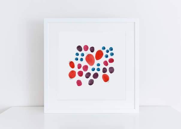 Sq-White-framed-Berries_8x8 giclee art print