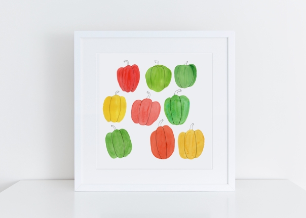 Sq-White-framed-Bell Pepper_Giclee Print 8x8