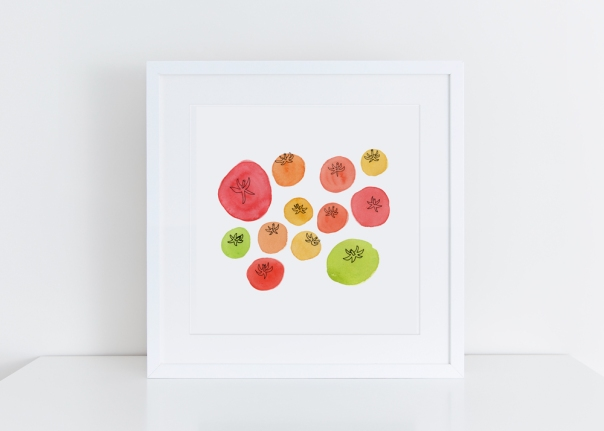 Sq-White-framed-tomatoes_8x8 giclee art print
