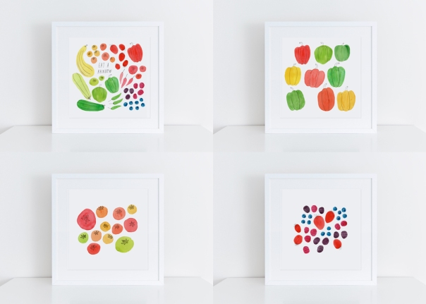 Eat a Rainbow watercolor art prints set of 4