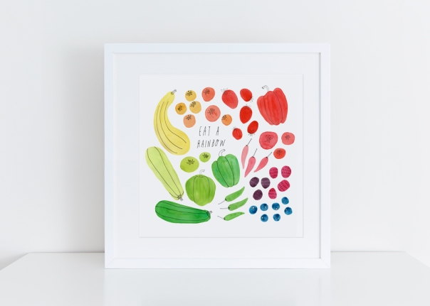 White-Framed_Eat-a-Rainbow_8x8 Art Print
