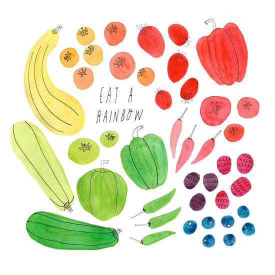 Eat a Rainbow summer vegetable watercolor illustration