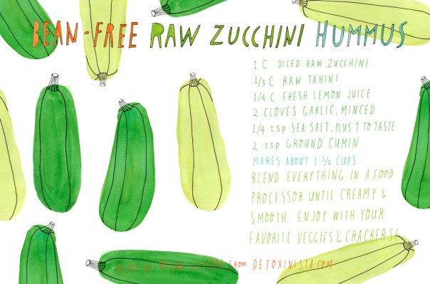 Bean-free raw zucchini hummus recipe from detoxinista.com