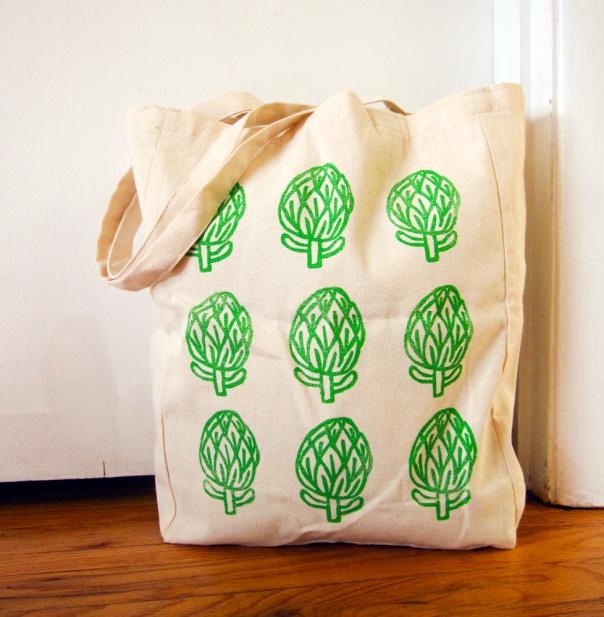 hand block printed artichoke tote bag