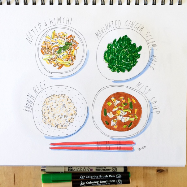 Japanese breakfast kale natto miso rice illustration