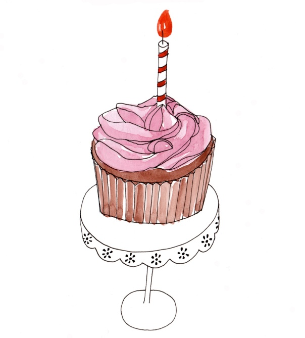 cupcake_watercolor and pen drawing