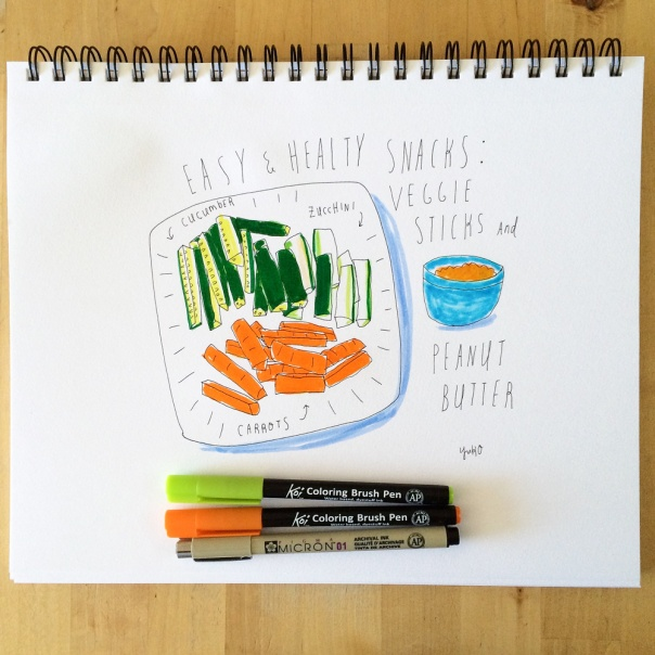vegetable sticks and peanut butter illustration