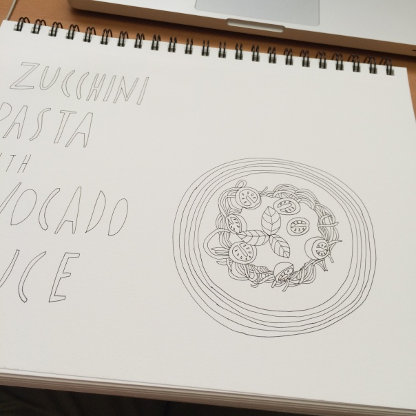Zucchini pasta with avocado sauce illustrated recipe process