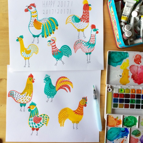 01_yea_of_rooster_watercolor illustration