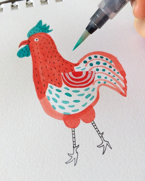 02_yea_of_rooster_watercolor illustration