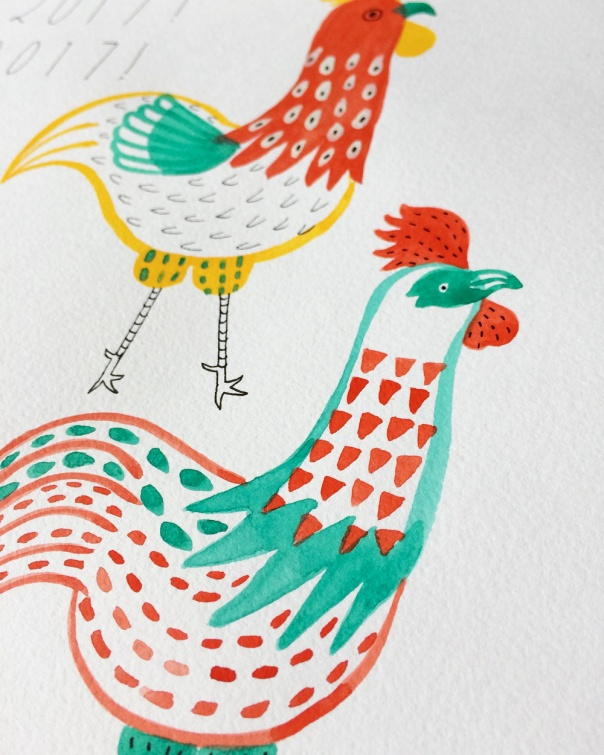 04_year of the rooster watercolor illustration