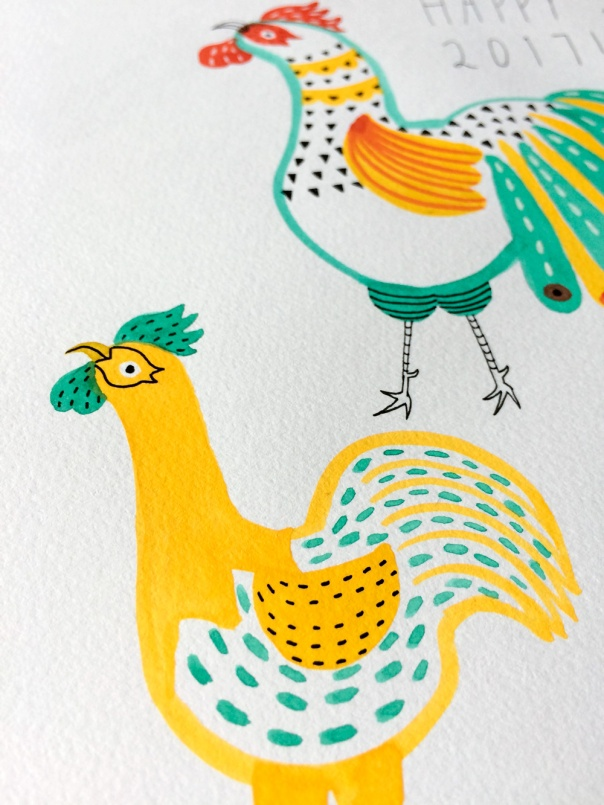 05_year of the rooster watercolor illustration